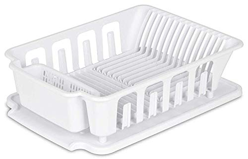 EXTRA LARGE Heavy Duty Sturdy Hard Plastic Sink Set With Dish Rack with Attached Drainboard Cup Holders for Home Kitchen Counter Top Organizer - White (18 3/4' L x 13 3/4' W x 5 1/2')