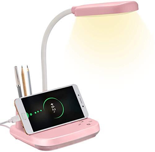 Lámpara de escritorio LED, lámpara de escritorio BZBRLZ recargable con puerto de carga USB y portalápices, 3 modos de color y luz nocturna y atenuación continua, rosado