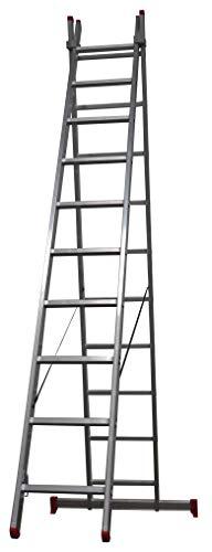 Homelux 825016 Escalera Aluminio Doble, 2 + 2 m, 2 x 7 Peldaños, 8.5 kg