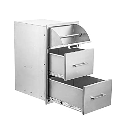 Stainless Steel Double Drawer & Paper Towel Holder Combo Works with Your Grilling or Prep Zones for Outdoor BBQ Island