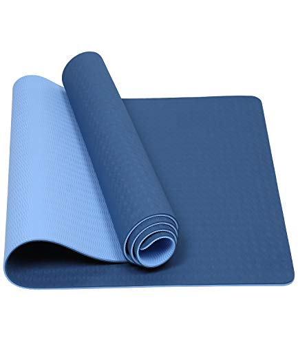 """Mersuii Yoga Mat, Eco Friendly Non Slip Fitness Exercise Mat with Carrying Strap for Yoga, Pilates and Floor Exercises - 72"""" x 24"""" x 1/4"""" (Navy Blue and Light Blue)"""