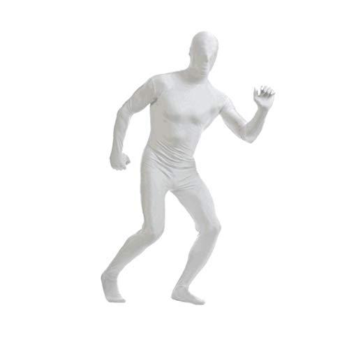 Spandex Body de Cuerpo Entero Zentai Spandex ceñido Traje de Lycra Disfraz de Halloween Mostrar Disfraces para Adultos y Niños Blanca XXL