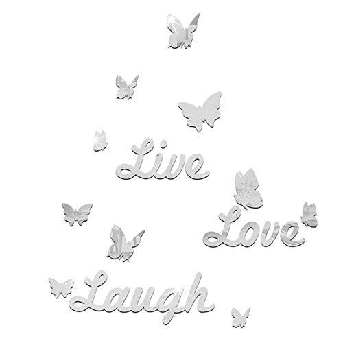 Janly Clearance Sale Live Laugh Love Cita Extraíble Pegatinas Arte de Pared Pegatinas Espejo Decoración de Habitación D Decoración del Hogar para el Día de Pascua (Plata)