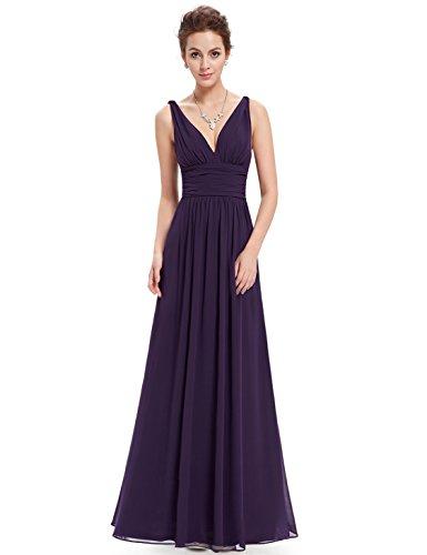 Ever Pretty Damen V-Ausschnitt Lange Chiffon Abendkleider Festkleider 8UK Violett