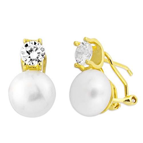 Pendientes Mujer Tu y Yo Redondos Perlas Circonitas Plata de Ley 925 Dorados. 12 X 9 Mm Cierre Omega