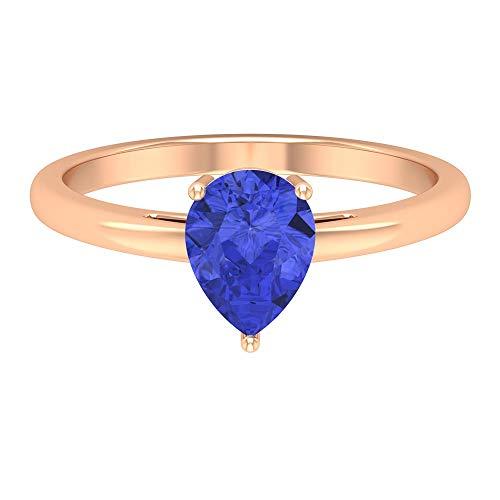 Anillo solitario de tanzanita de 1,15 quilates, 6 x 8 mm, corte de pera, anillo de compromiso de oro macizo (calidad AAA), oro de 14 quilates azul