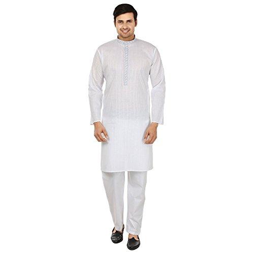 MapleClothing Baumwolle Bestickt Herren Kurta Pyjama Indien Bekleidung (Weiß, L)