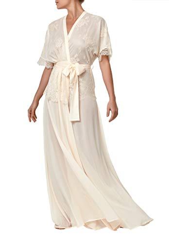 Millesime Luxus Bademantel Damen Lang mit Spitze | Morgenmantel Lang Damen Nachthemd Damen Große Größen Damen Loungewear Nightwear Bathrobe All Seasons | Baumwolle & Polyester (XL)