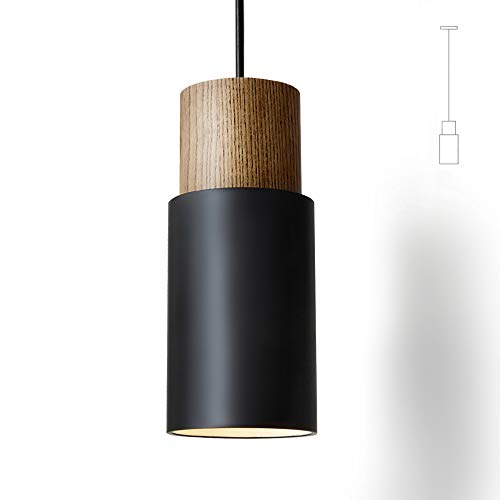 Lámpara de techo colgante vintage con pantalla retro industrial para bombillas E27, color negro y blanco, a elegir, para comedor, pasillo, restaurante, sótano, etc., 1 paquete