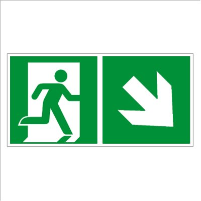 Rettungsweg rechts abwärts - Fluchtweg - Notausgang - Rettungsschild - Rettungszeichen ISO 7010 Folie 300 x 150 mm