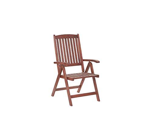 Beliani Rustic Outdoor Garden Solid Acacia Wood Adjustable Foldable Chair Light Brown Toscana