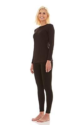 Bodtek Women's Thermal Underwear Set Premium Long John Base Layer Fleece Lined Top and Bottom (Black, Medium)