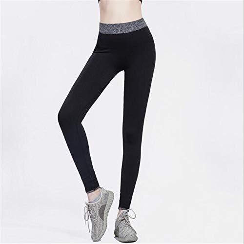 Leoie Yoga ejercicio culturismo mujeres sexy elástico yoga deportes pantalones de fuerza de absorción de humedad ejercicio secado rápido Leggings negro M