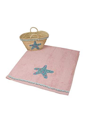 Kit Playa | Toalla color Rosa maquillaje 70x140cm y capazo con diseño Estrella de Mar