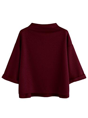 SweatyRocks Women's 3/4 Sleeve Mock Neck Basic Loose T-Shirt Elegant Top Burgundy X-Small