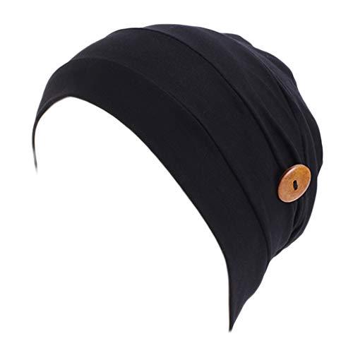Lergo - Gorro plisado para mujer, color sólido, protege las orejas