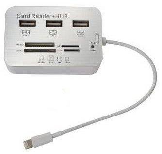 7in 1multifunzione USB Hub 3Port Reader Lettore di schede connessione fotocamera camera connection con cable esterno interno/trasmissione di foto e video per SD/MMC/M2/MS/MP/T-Flash iPad 4, Mini, 5Air, Mini 2