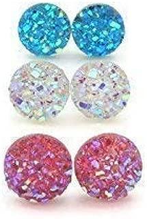 8mm Faux Druzy Stone Earrings Hypoallergenic Metal-Free Plastic Posts, Pink, Clear, Aqua