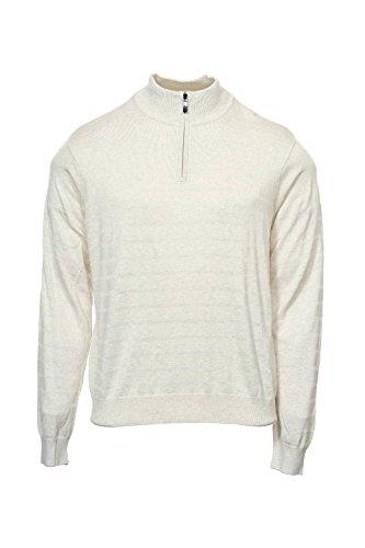 Perry Ellis Men's Solid Stripe Quarter Zip Sweater Oatmeal Heather Sweater 2XL