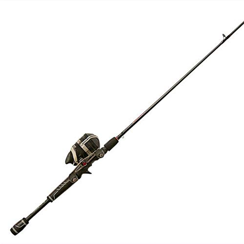 Zebco Bullet Spincast Reel and Fishing Rod Combo, 7-Foot 1-Piece Graphite Fishing Pole with Winn Grips, Instant Anti-Reverse Clutch, Changeable Right- or Left-Hand Retrieve, Black