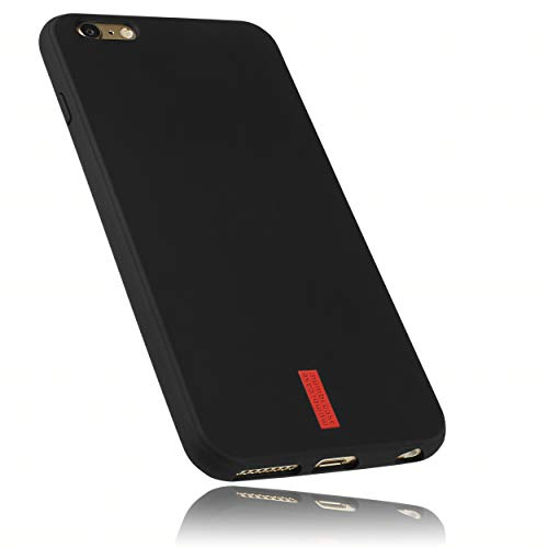 mumbi Hülle kompatibel mit iPhone 6 Plus / 6S Plus Handy Case Handyhülle, schwarz mit rotem Streifen - 5.5 Zoll