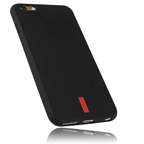 mumbi Hülle kompatibel mit iPhone 6 Plus / 6S Plus Handy Case Handyhülle, schwarz mit rotem Streifen