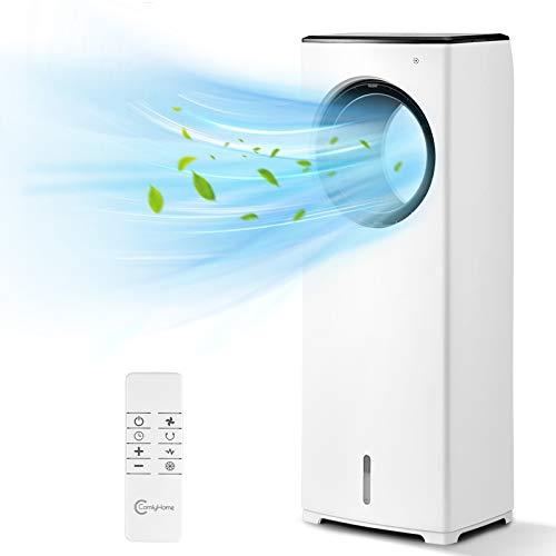 COMFYHOME 2-in-1 Air Cooler, 32' Evaporative Air Cooler Tower Fan w/Cooling&Humidification Function, Bladeless Design, 3 Wind Speeds, 4 Modes, 40°Oscillation, 15H Timer, Remote Control for Home Office