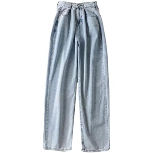 Pantalones Vaqueros Casuales de Mujer con Volantes, Ropa de Calle de Cintura Alta, Pantalones de Pierna Ancha, Delicioso, Bonito, Retro, Vaquero Lavado, Color sólido XS