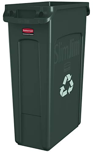 Rubbermaid Commercial Slim Jim Recycling Container with Venting Channels, Plastic, 23 Gallons, Green (354007GN)