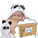 Serviette de Bain Bébé Sortie de Bain Peignoir Cape de Bain Avec Capuche et Gant 100% en Bambou Bio Extra Doux Grande Taille Parfait Cadeau Pour Naissance Nourrissons Fille Garçon Enfants de 0-4 ans