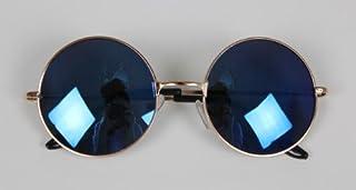 オシャレ度アップ カラーレンズ レトロチック サングラス かわいい 丸眼鏡風 (金縁×ブルー系)