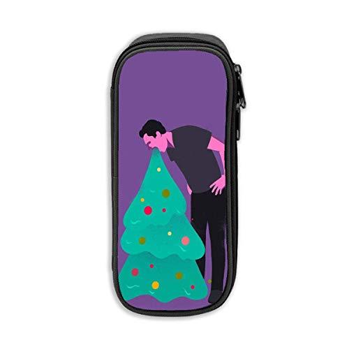 Il nero di immagazzinaggio della borsa di trucco cosmetico dell'ufficio della cancelleria della penna della cassa della penna della matita dell'albero di Natale