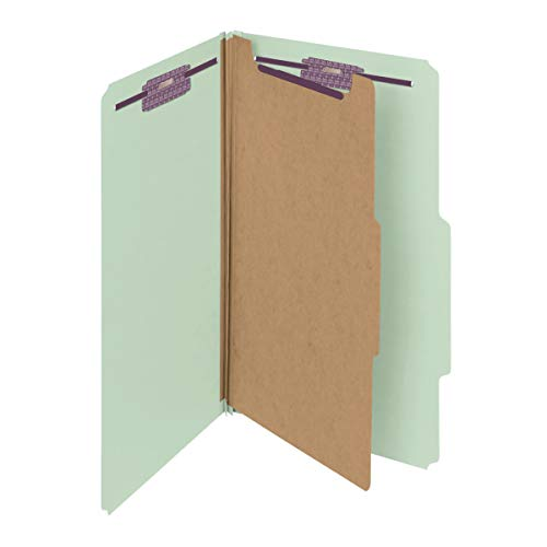 """Smead Pressboard Classification File Folder with SafeSHIELD Fasteners, 1 Divider, 2"""" Expansion, Legal Size, Gray/Green, 10 per Box (18776)"""