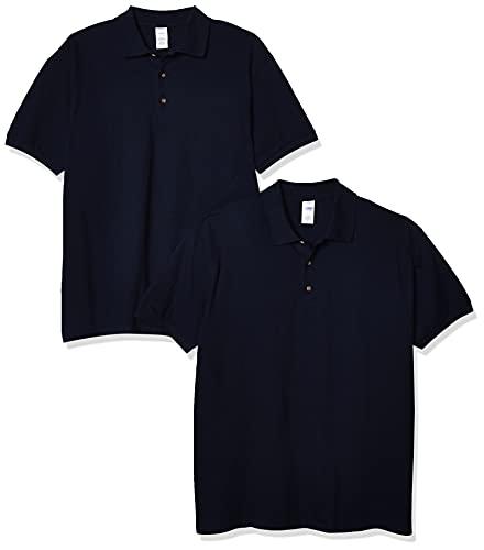 Gildan Men's Ultra Cotton Pique Sport Shirt, 2-Pack, Navy, Large