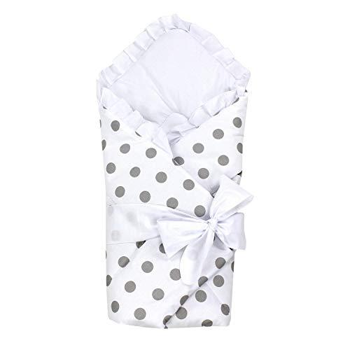 TupTam Unisex Baby Einschlagdecke mit Schleife, Farbe: Tupfen Weiß, Größe: 70 x 70 cm