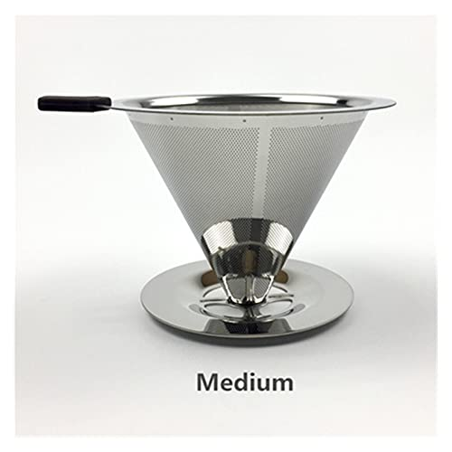 SHUANGX Stainless Steel Coffee Filter Holder Reusable Coffee Filters Dripper v60 Drip Coffee Baskets (Color : Medium V-F-402T)