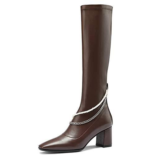 Shinelyf Moda Mujer Largo Boots Classico Botas Personalidad Cuero Brillante Comodas Fáciles De Poner Buena Elasticidad hasta La Rodilla,Marrón,37