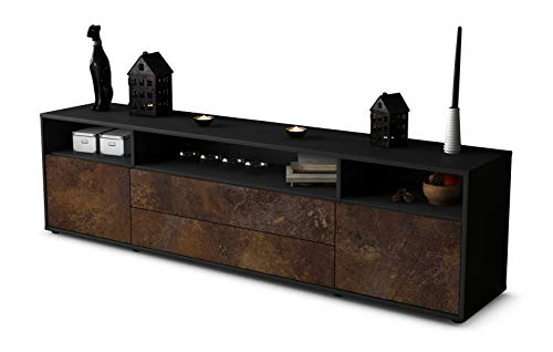Stil.Zeit TV Schrank Lowboard Biancaneve, Korpus in Anthrazit Matt/Front im Rost Antik Industrie Design (180x49x35cm), mit Push-to-Open Technik und Hochwertigen Leichtlaufschienen, Made in Germany