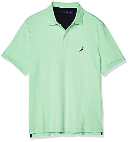Nautica Men's Classic Fit Short Sleeve Solid Soft Cotton Polo Shirt, ash Green, Medium