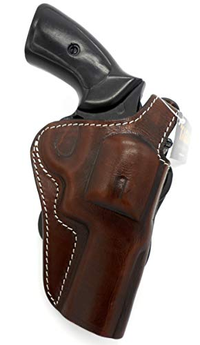 TAGUA Premium Deluxe Right Hand Rotating Paddle and Belt Holster with Reinforced Thumb Break in Dark Brown Leather for SMITH & WESSON S&W N-FRAME REVOLVER 4' Barrel, RUGER GP100 4.2' Barrel