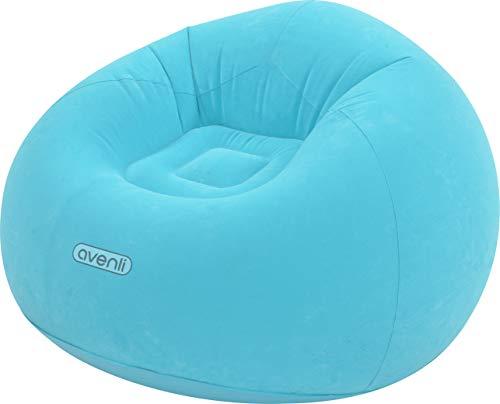 Pullach Hof Aufblasbarer Sessel ca. 105cm x 105cm x 65cm in Rosa oder Hellblau Aufblasmöbel Sommer Baden Schwimmen Schwimmbad inklusive Reperaturenset (Hellblau)