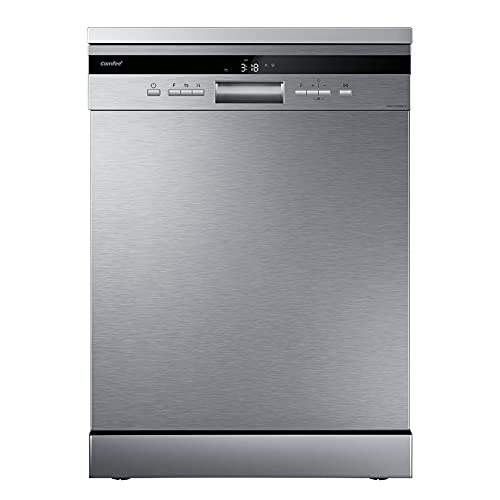 COMFEE' Freestanding Dishwasher FD1435EKWH-FD1435E-X with 14 place settings, Full Size, Whisper Quiet 44dB, Wide LED Display, Delay Start, Half Load Function, Flexible Racks,Stainless Steel