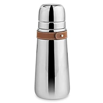 Nambe - Tahoe Collection Stainless Steel Cocktail Shaker with Leather Accent and Strainer Top 3  x 9  - Leather Accent is Removable