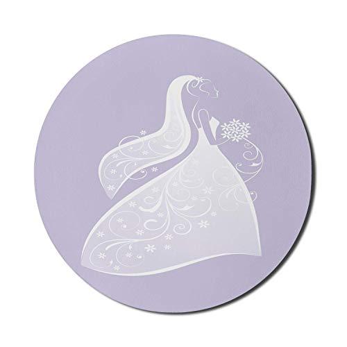 Kleid Mauspad für Computer, Hochzeitskonzept Illustration von Dame mit Blumen Brautkleid Bouquet, Runde rutschfeste dicke Gummi Modern Gaming Mousepad, 8 'rund, lila grau und weiß