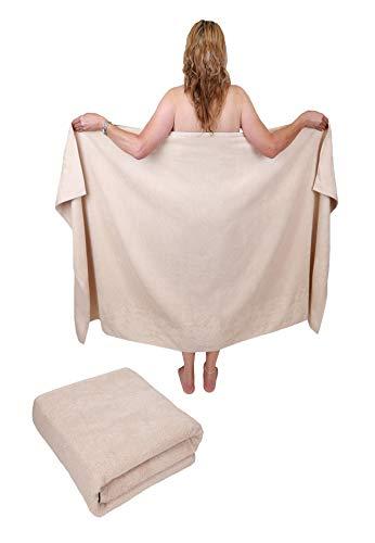 Betz 2 Stück Badetuch groß XXL Größe 100 x 200 cm Badetücher Saunatuch Set Dresden 100% Baumwolle Farbe Sand