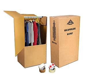 Mottola Packaging - 2pezzi - Scatolone 60x55 cm h 115 cm - Scatole Cartone Porta Abiti con Barra Appendiabiti - Cartoni per Trasloco Armadio