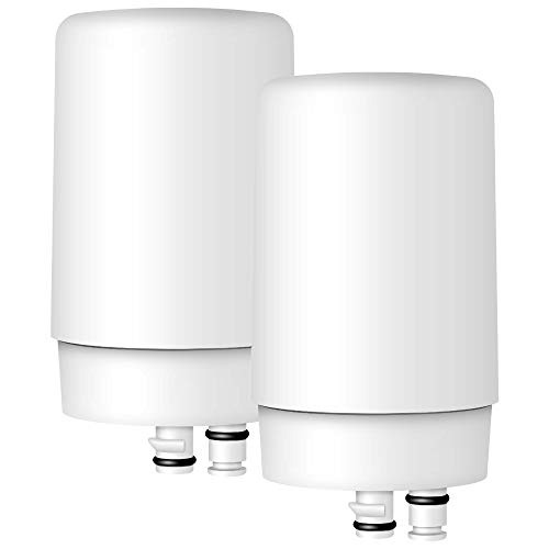AQUA CREST Faucet Filter Replacement, Replacement for Brita Faucet Filter, Brita 36311 On Tap Water Filtration System, Brita FR-200, FF-100 Replacement Filter, White (Pack of 2)