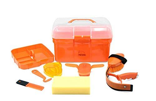 AMKA Rengöringslåda för barn rengöringslåda – rengöringsväska fylld 7 delar – 5 färger att välja mellan (orange)