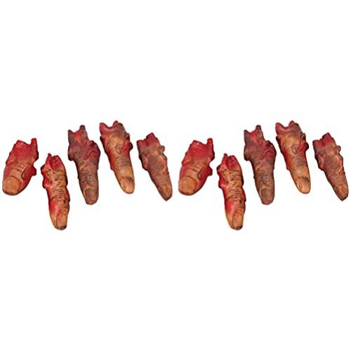 TOYANDONA Partes Do Corpo Quebrado Assustador Sangrento Falso Dedos Dedos Decepados Halloween Prank Props Horror Halloween Decorações Adereços 10 Dedos