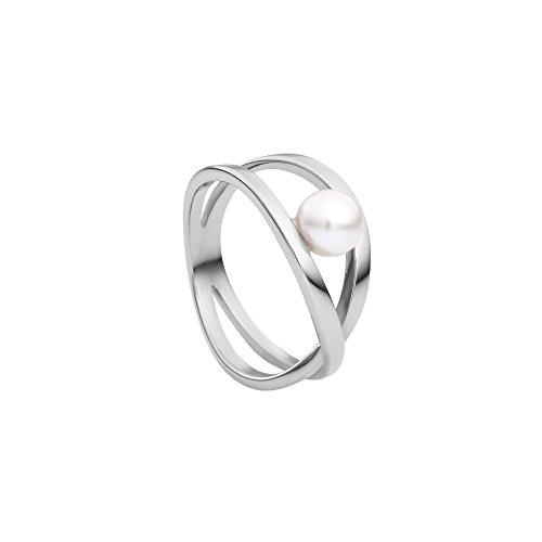 Heideman Ring Damen aus Edelstahl Silber farbend poliert Damenring für Frauen mit Swarovski Perle Weiss rund 6mm